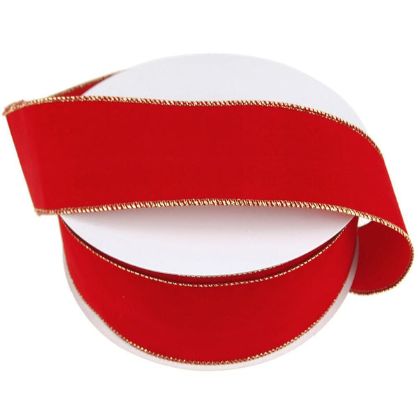 Gold Edge Red Velvet Ribbon Wired Edge, 2-1/2-Inch, 50 Yards