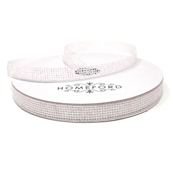 Glittered Grid Weave Ribbon, Iridescent White, 3/8-Inch, 25 Yards