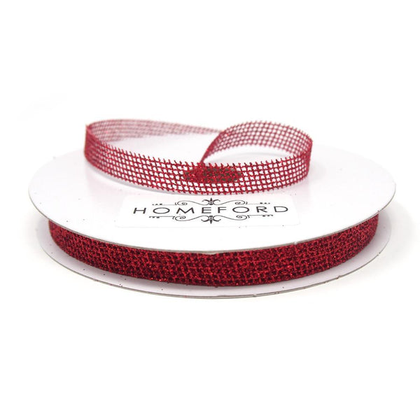 Glittered Grid Weave Ribbon, Red, 3/8-Inch, 25 Yards