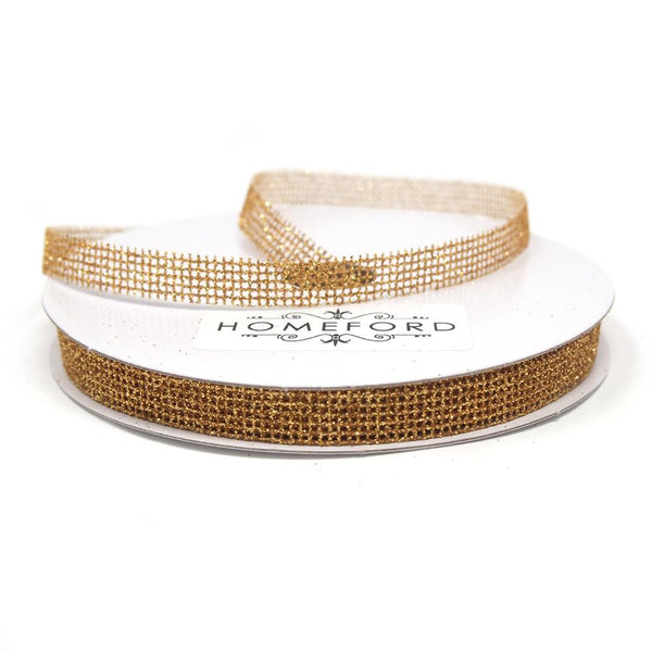 Glittered Grid Weave Ribbon, Gold, 3/8-Inch, 25 Yards