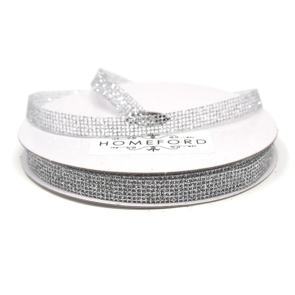 Glittered Grid Weave Ribbon, Silver, 3/8-Inch, 25 Yards
