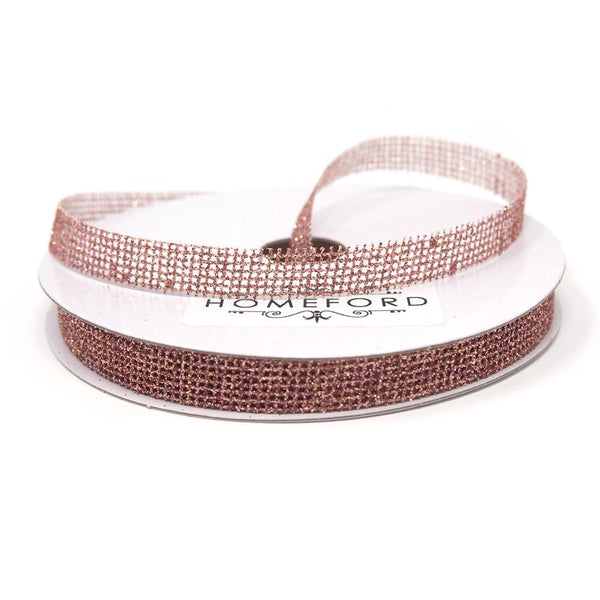 Glittered Grid Weave Ribbon, Rose Gold, 3/8-Inch, 25 Yards