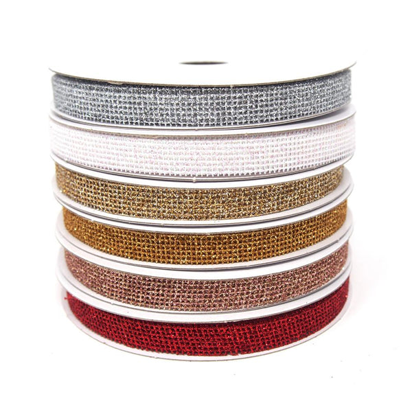 Glittered Grid Weave Ribbon, 3/8-Inch, 25 Yards