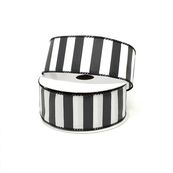 Christmas Stripes Satin Wired Edge Ribbon, 1-1/2-Inch, 10-Yard, Black/White