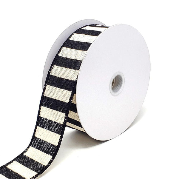 Christmas Stripes Canvas Wired Edge Ribbon, 1-1/2-Inch, 10-Yard, Black/Ivory