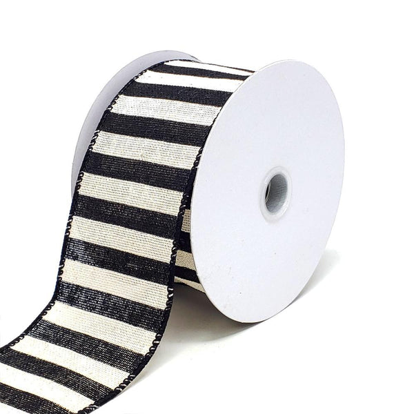 Christmas Stripes Canvas Wired Edge Ribbon, 2-1/2-Inch, 10-Yard, Black/Ivory
