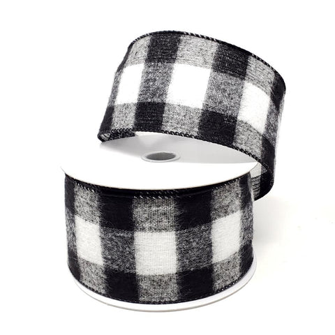 Christmas Buffalo Brushed Soft Wired Ribbon, 2-1/2-Inch, 10-Yard, Black/White