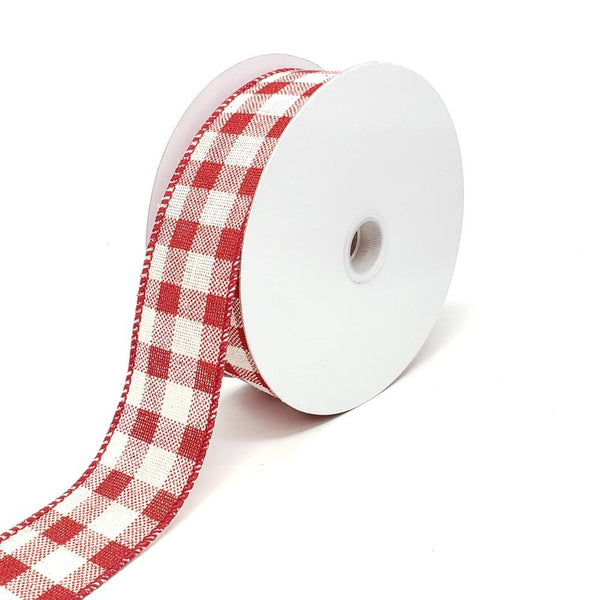 Christmas Canvas Gingham Wired Edge Ribbon, 1-1/2-Inch, 10-Yard, Red/Cream