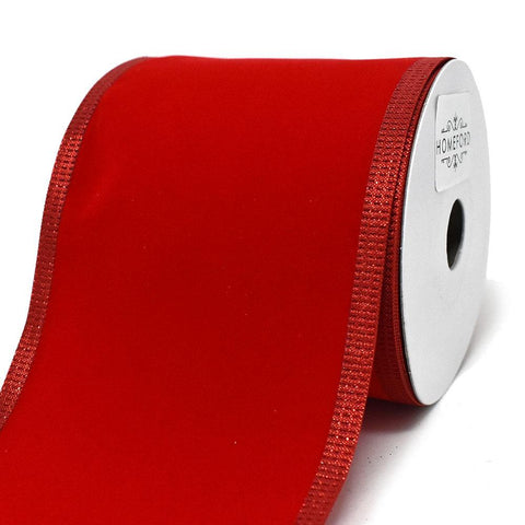 Red Velvet Metallic-Colored Trim Wired Ribbon, 4-Inch, 10-Yard