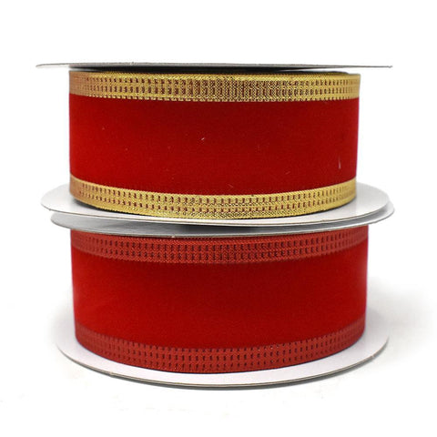 Red Velvet Metallic-Colored Trim Wired Ribbon, 1-1/2-Inch, 10-Yard