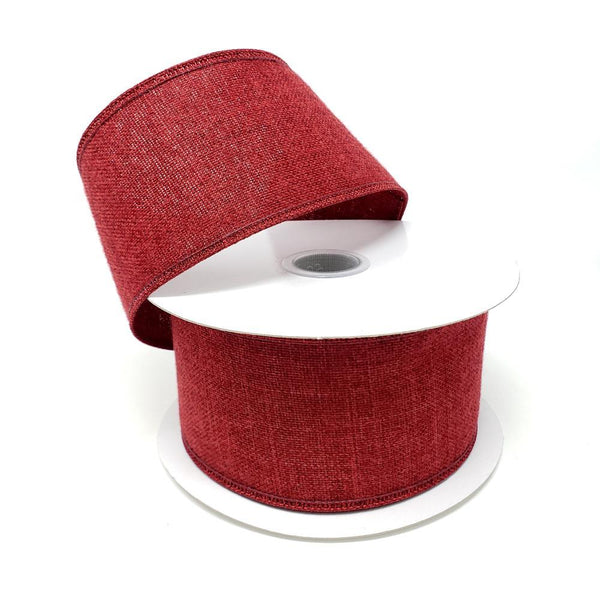 Christmas Soft Brushed Linen Wired Ribbon, 2-1/2-Inch, 10-Yard, Burgundy