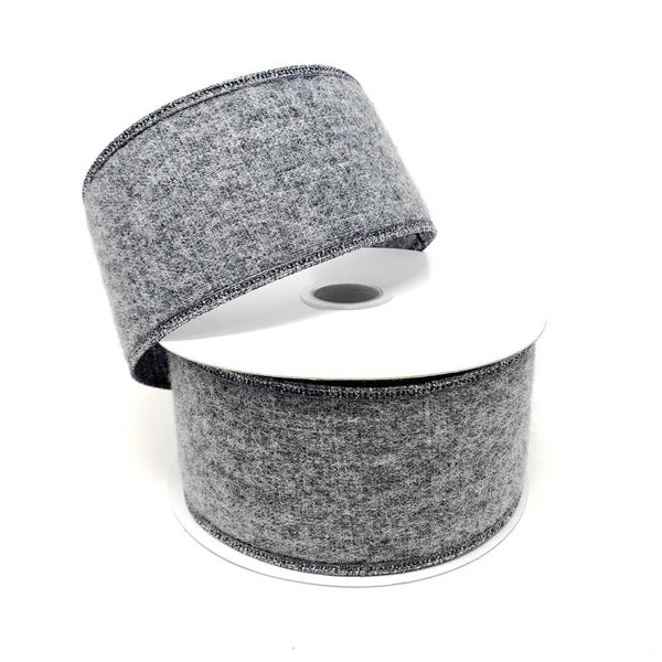 Christmas Soft Brushed Linen Wired Ribbon, 2-1/2-Inch, 10-Yard, Charcoal