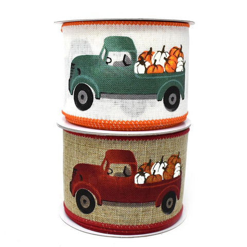 Harvest Truck with Pumpkins Wired Edge Linen Ribbon, 2-1/2-Inch, 10-Yard