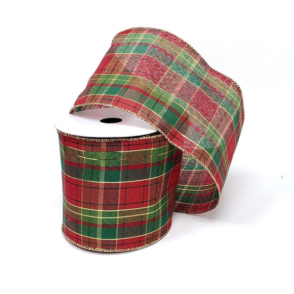 Christmas Classic Metallic Plaid Wired Edge Ribbon, 4-Inch, 10-Yard, Red/Green/Gold