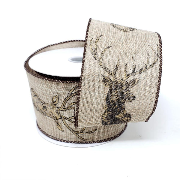 Christmas Deer Heads in Gold Linen Ribbon, 2-1/2-Inch, 10-Yard, Natural