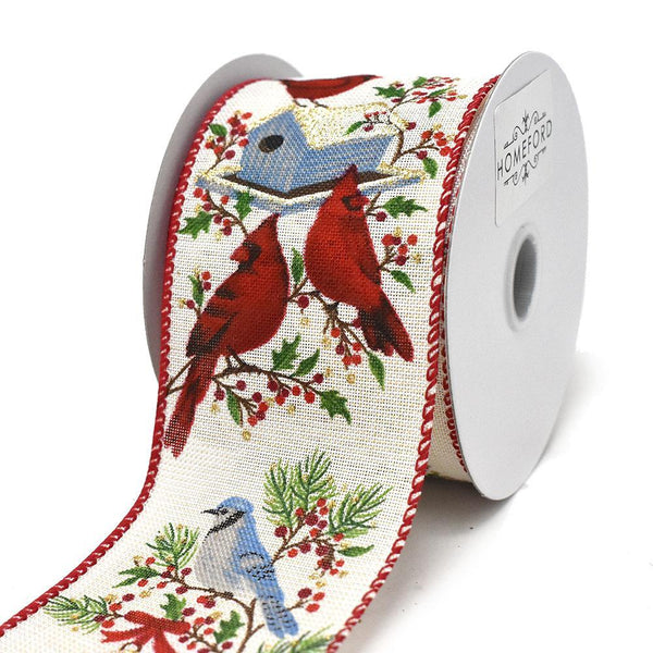 Christmas Birds on Birdhouses Wired Ribbon, 2-1/2-Inch, 10-Yard