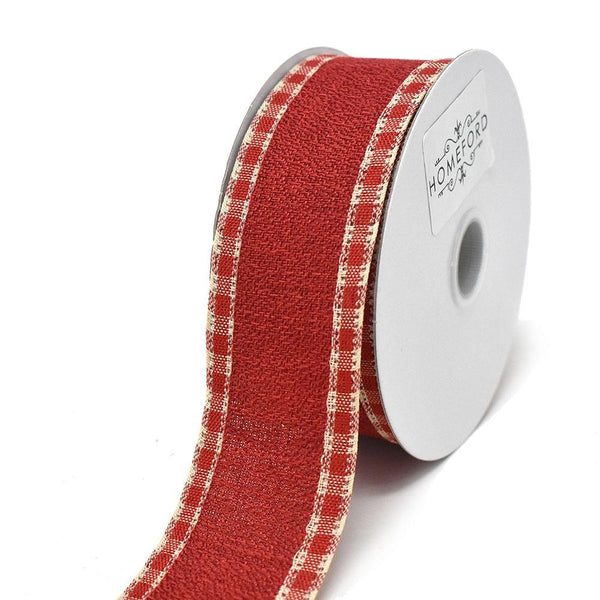 Checkered Edge Linen Wired Edge Christmas Ribbon, 1-1/2-Inch, 10-Yard, Red