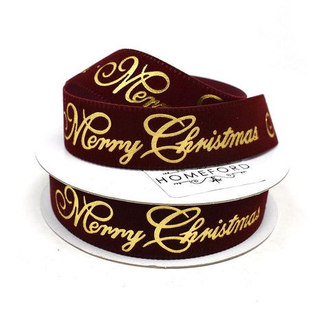 "Velvet and Gold Embossed ""Merry Christmas"" Wired Ribbon, 7/8-Inch, 10-Yard, Burgundy"