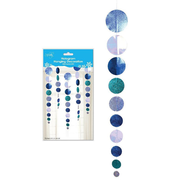 Holographic Hanging Circle Garland Winter Decoration, 40-Inch, 3-Piece