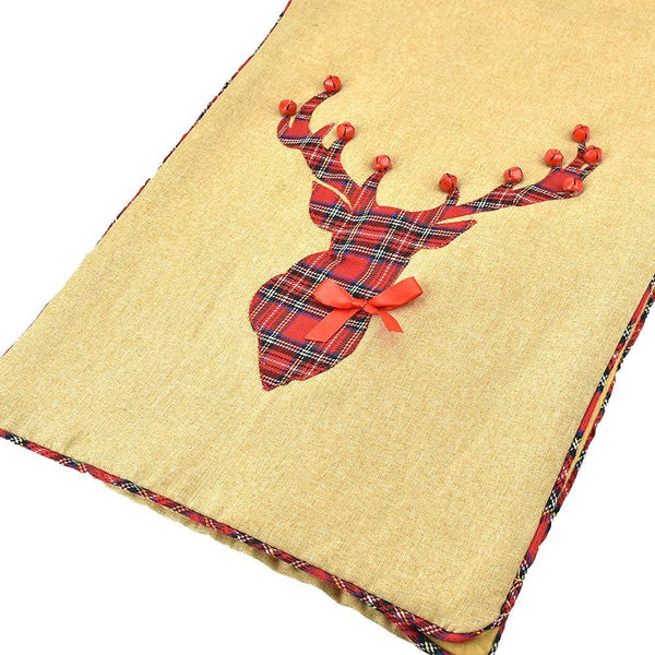 Plaid Reindeer with Jingle Bells Table Runner, 72-Inch