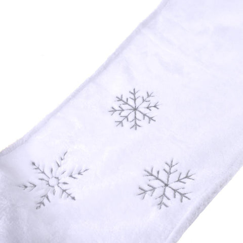 Plush Embroidered Snowflake Christmas Table Runner, White, 14-Inch x 90-Inch