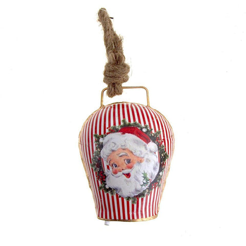 Hanging Tin Bell Santa Smiling Christmas Ornament, Red, 5-Inch