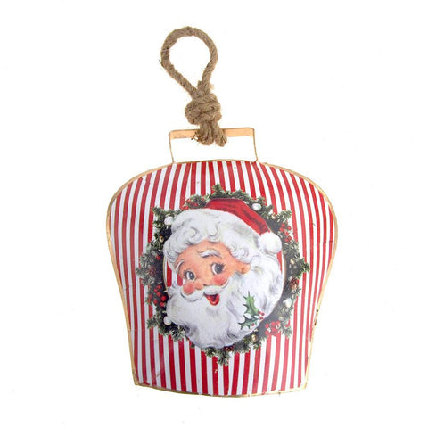 Hanging Tin Bell Santa Smiling Christmas Ornament, Red, 7-1/2-Inch