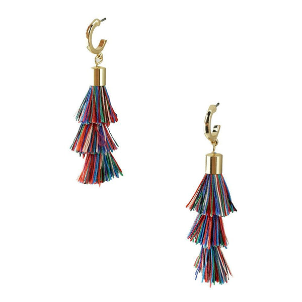 Three Layered Tassel Drop Earrings, Multicolor, 2-Inch