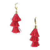 Three Layered Tassel Drop Earrings, 2-Inch