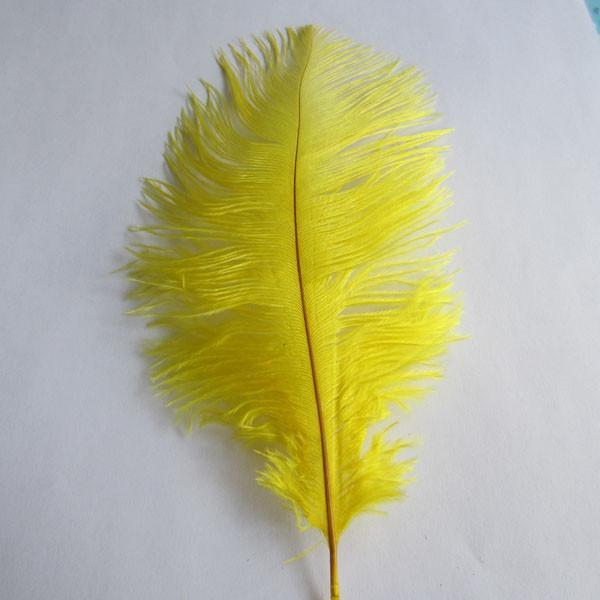 Ostrich Feather Decorative Centerpiece, 15-Inch, 1-Piece, Yellow
