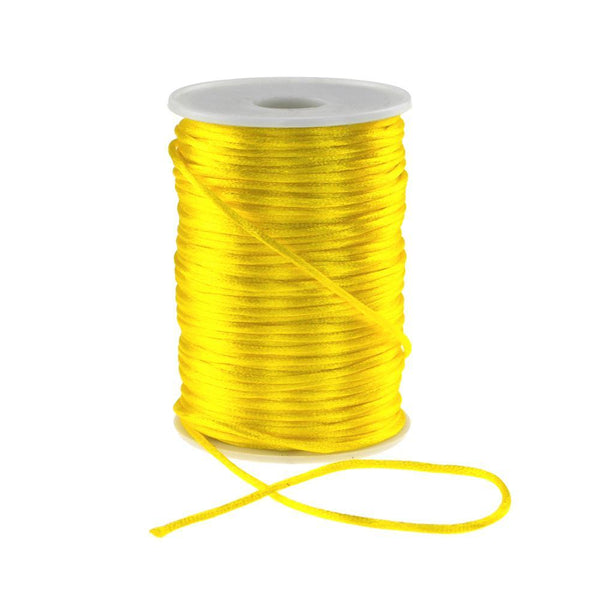 Satin Rat Tail Cord Ribbon Chinese Knot, 1/16-Inch, 100-Yard, Yellow