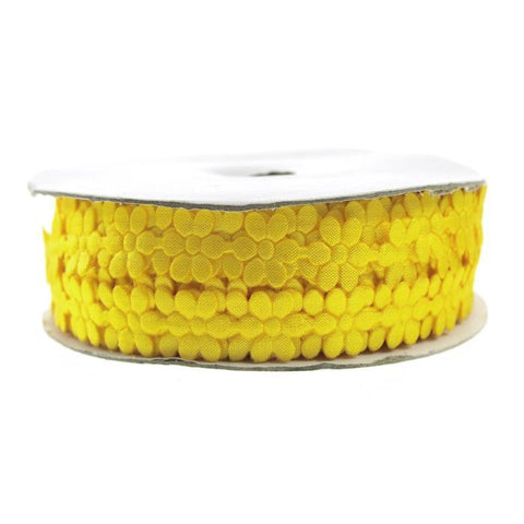 Polyester Flower Garland Ribbon, 3/8-Inch, 25-Yard, Yellow