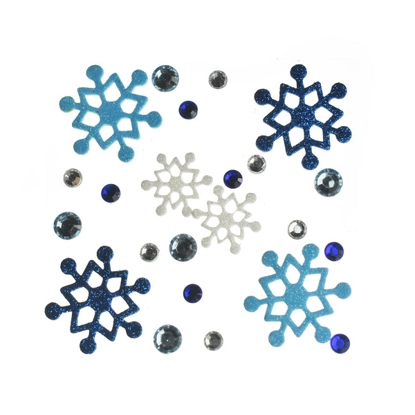 Glitter Snowflake Foam and Gem Stickers, Assorted Sizes, 23-Piece