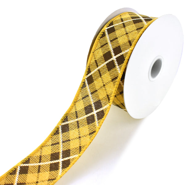 Plaid Printed Wired Ribbon, Sunflower Yellow, 1-1/2-Inch, 10-Yard