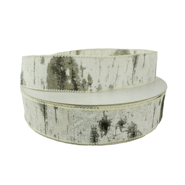 Christmas Birch Tree Wired Ribbon, 1-1/2-Inch, 50-Yard
