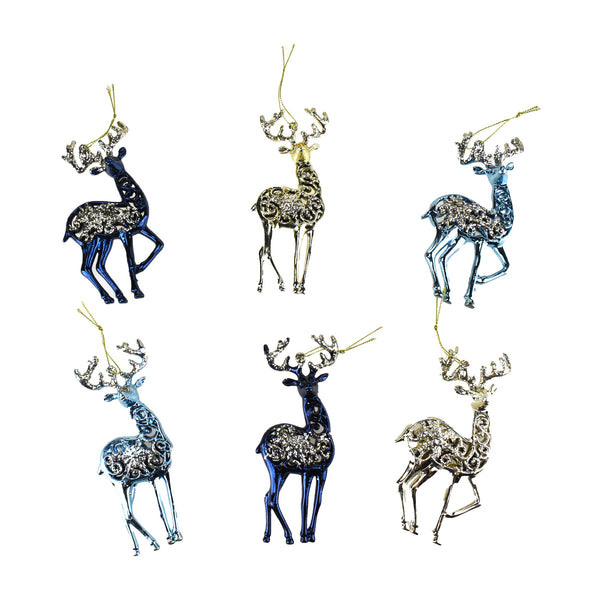 Metallic and Glitter Deer Ornaments, Navy Blue, 5-1/2-Inch, 12-Piece