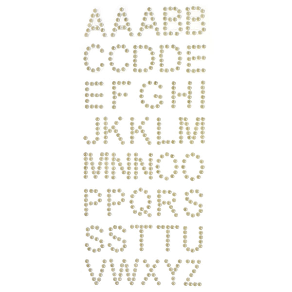 Alphabet Pearl Bead Rhinestone Stickers, 40-Piece