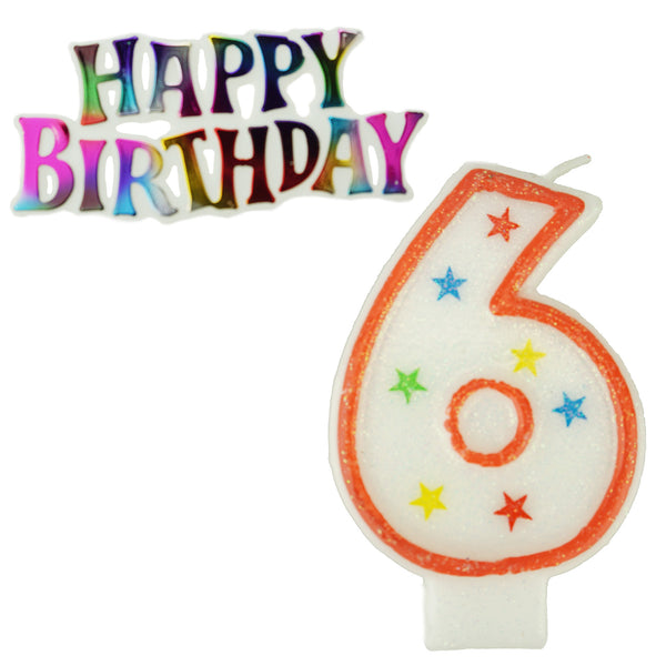 Glitter Number 6 Candle and Happy Birthday Sign, 3-3/8-Inch, 2-Piece