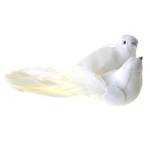 Sparkle Tailed Dove Couple Decoration Favor, White, 5-Inch