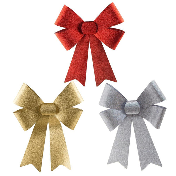 Plastic Christmas Bows with Glitters, Gold/Silver/Red, 14-Inch, 3-Piece