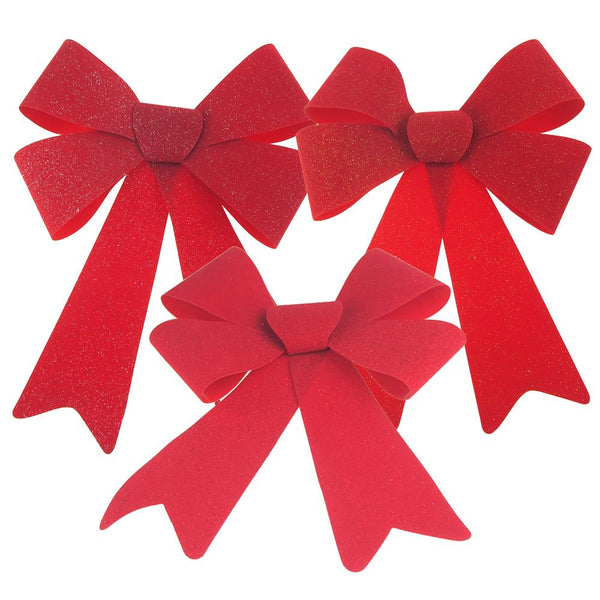 Christmas Red Plastic Bow with Assorted Glitter, 14-Inch, 3 Piece