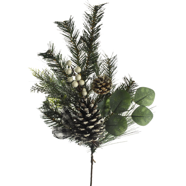 Artificial Pine Cone and Eucalyptus Branch Stem, 31-Inch