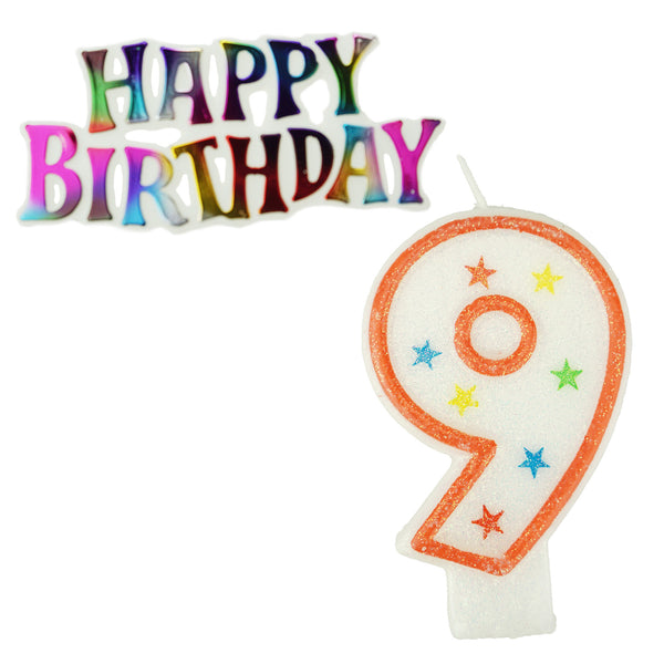Glitter Number 9 Candle and Happy Birthday Sign, 3-3/8-Inch, 2-Piece