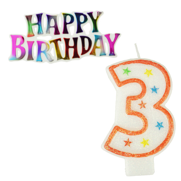 Glitter Number 3 Candle and Happy Birthday Sign, 3-3/8-Inch, 2-Piece