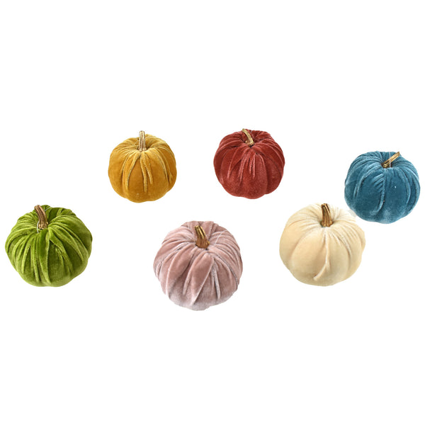 Velvet Pumpkin Centerpiece Decoration, 3-1/2-Inch