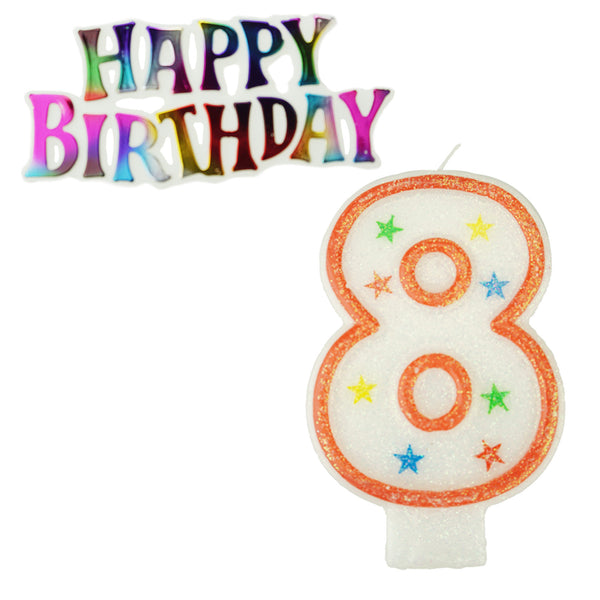 Glitter Number 8 Candle and Happy Birthday Sign, 3-3/8-Inch, 2-Piece