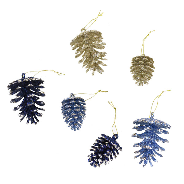 Glitter Frosted Pinecone Christmas Ornaments, Navy Blue, Assorted Sizes, 21-Piece