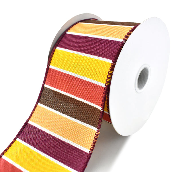 Frida Stripes Wired Ribbon, Yellow/Cranberry/Chocolate, 2-1/2-Inch, 10-Yard