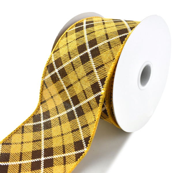 Autumn Plaid Printed Wired Ribbon, Sunflower Yellow, 2-1/2-Inch, 10-Yard