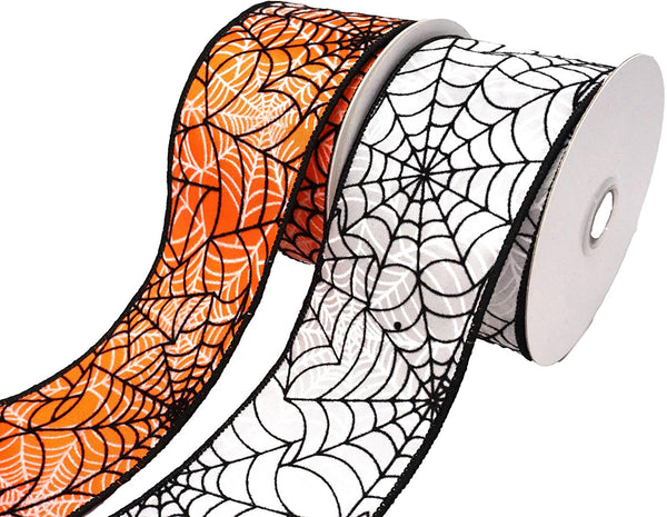 Flocked Spiderwebs Satin Wired Edge Ribbon, 2-1/2-Inch, 10-Yard